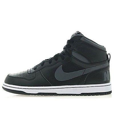 ed2b345264b Nike Big Nike High Mens 336608-014 Black Grey Leather Basketball Shoes Size  10.5