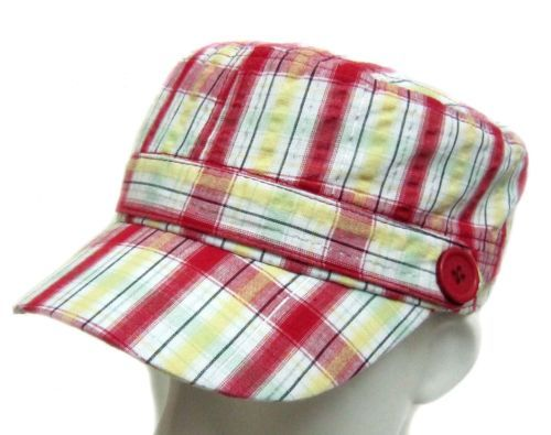 bd2f21d0527 Lady-Fashion-Summer-Cotton-Check-Plaid-Tartan-Military-Army-Cadet-Hat-Cap -Button