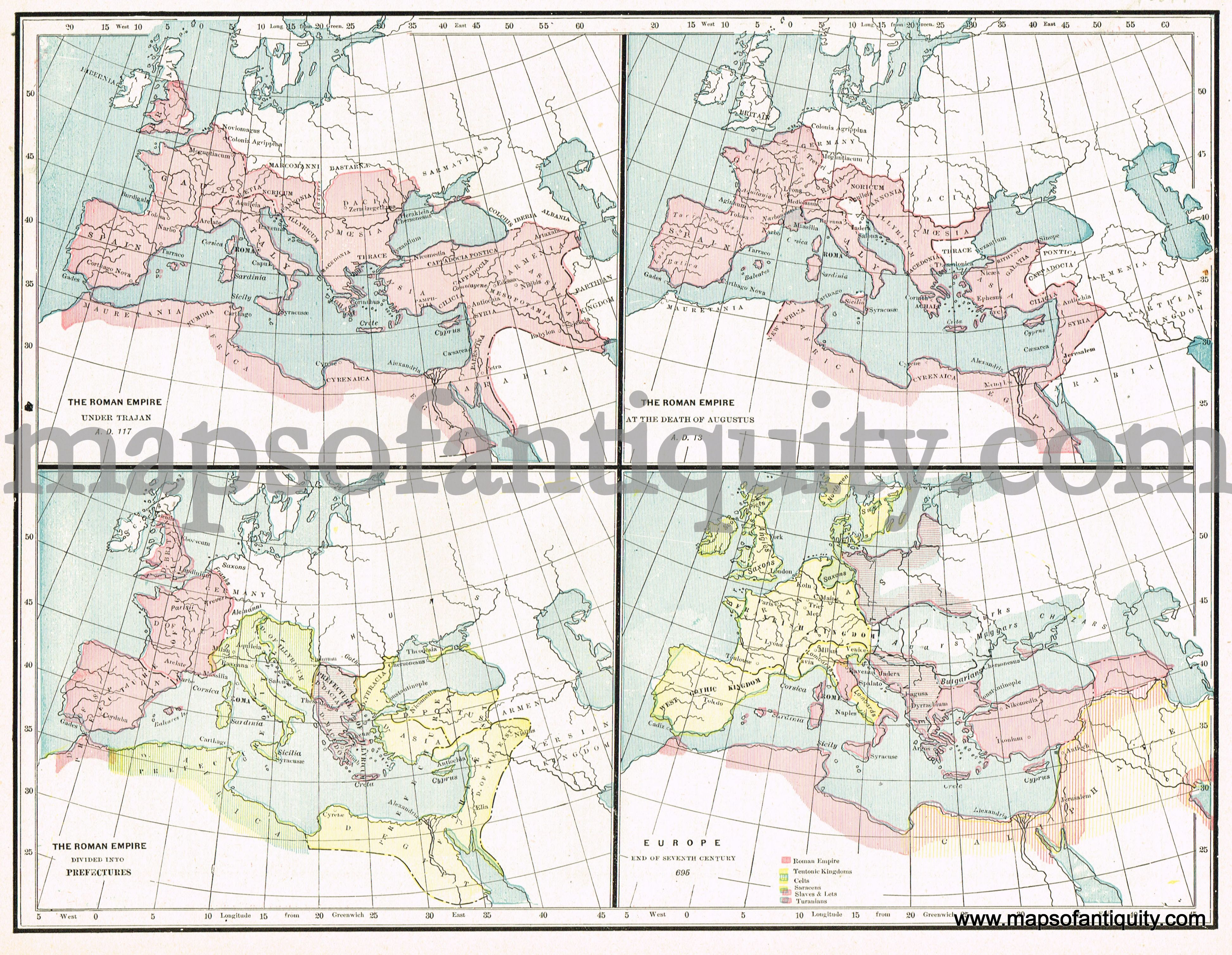 Antique Map Showing The Roman Empire Under Trajan The - Map of rome under trajan