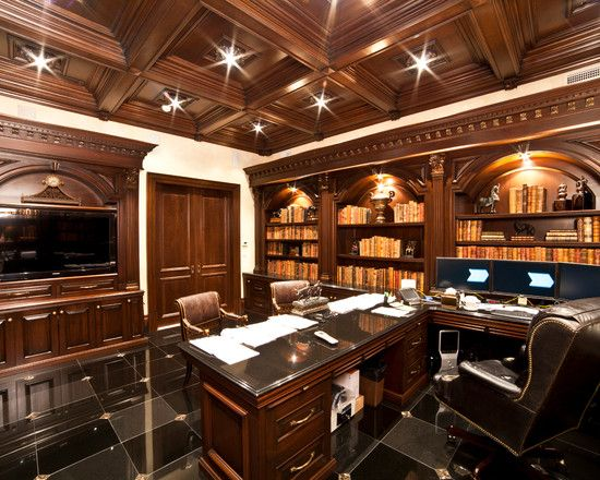 home office design elegant traditional home office ideas for men with elegant teak wood desk and shelves also dark brown office chair also - Traditional Home Office