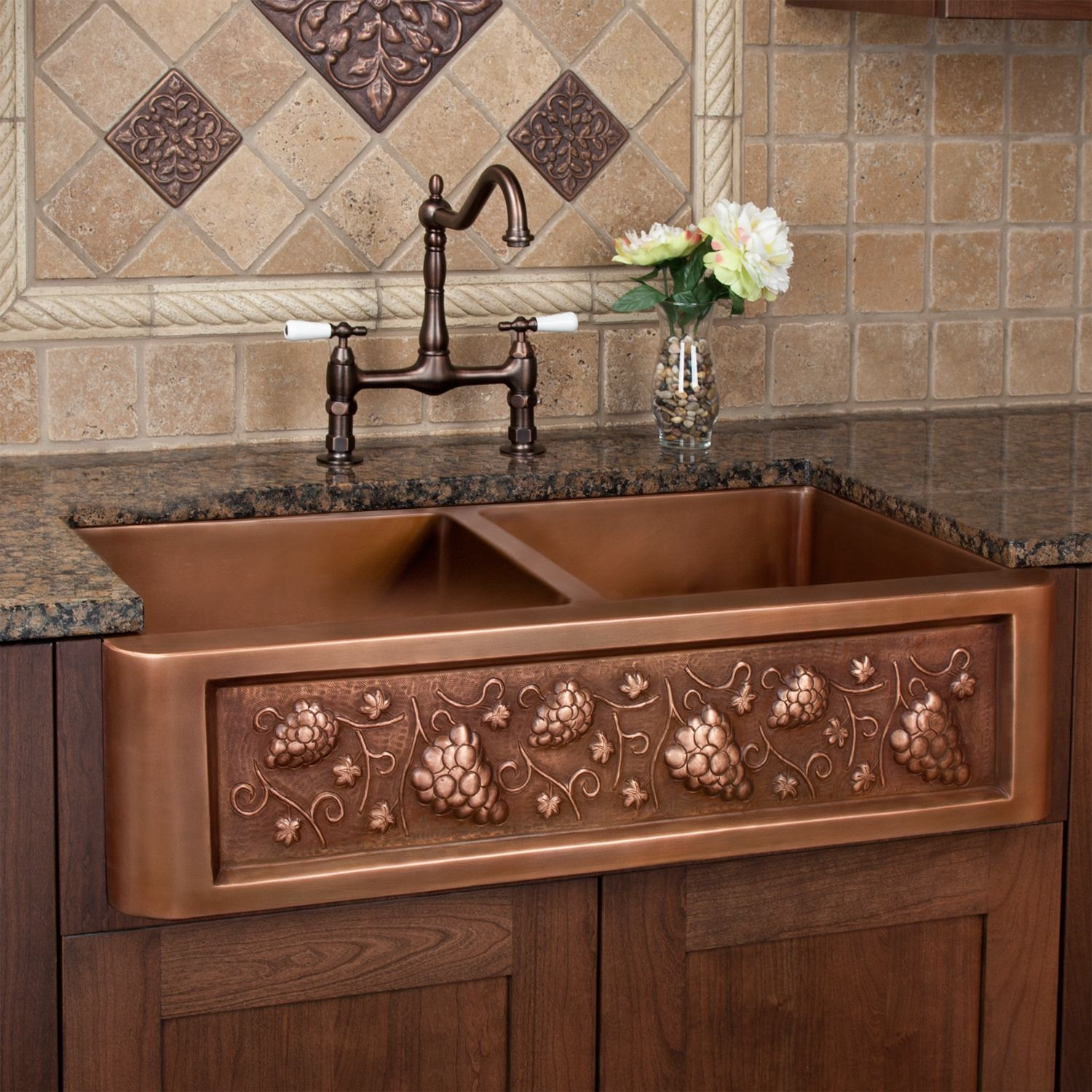 36 Tuscan Series Double Well Copper Farmhouse Sink With Grape
