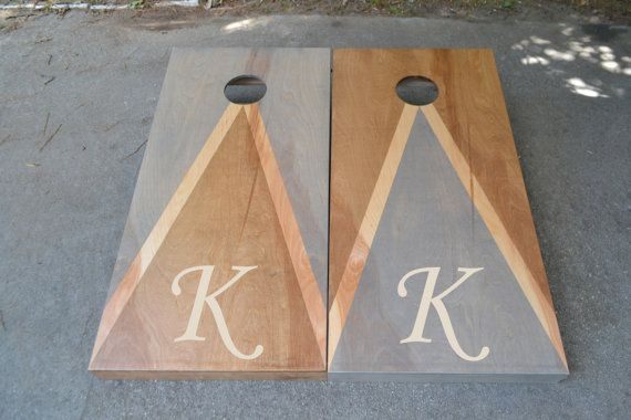 Wedding Initial Custom Stained Cornhole Boards Set with BagsBaggoLawn GamesCorn TossWeddingNon PaintedPersonalizedLogocorn hole