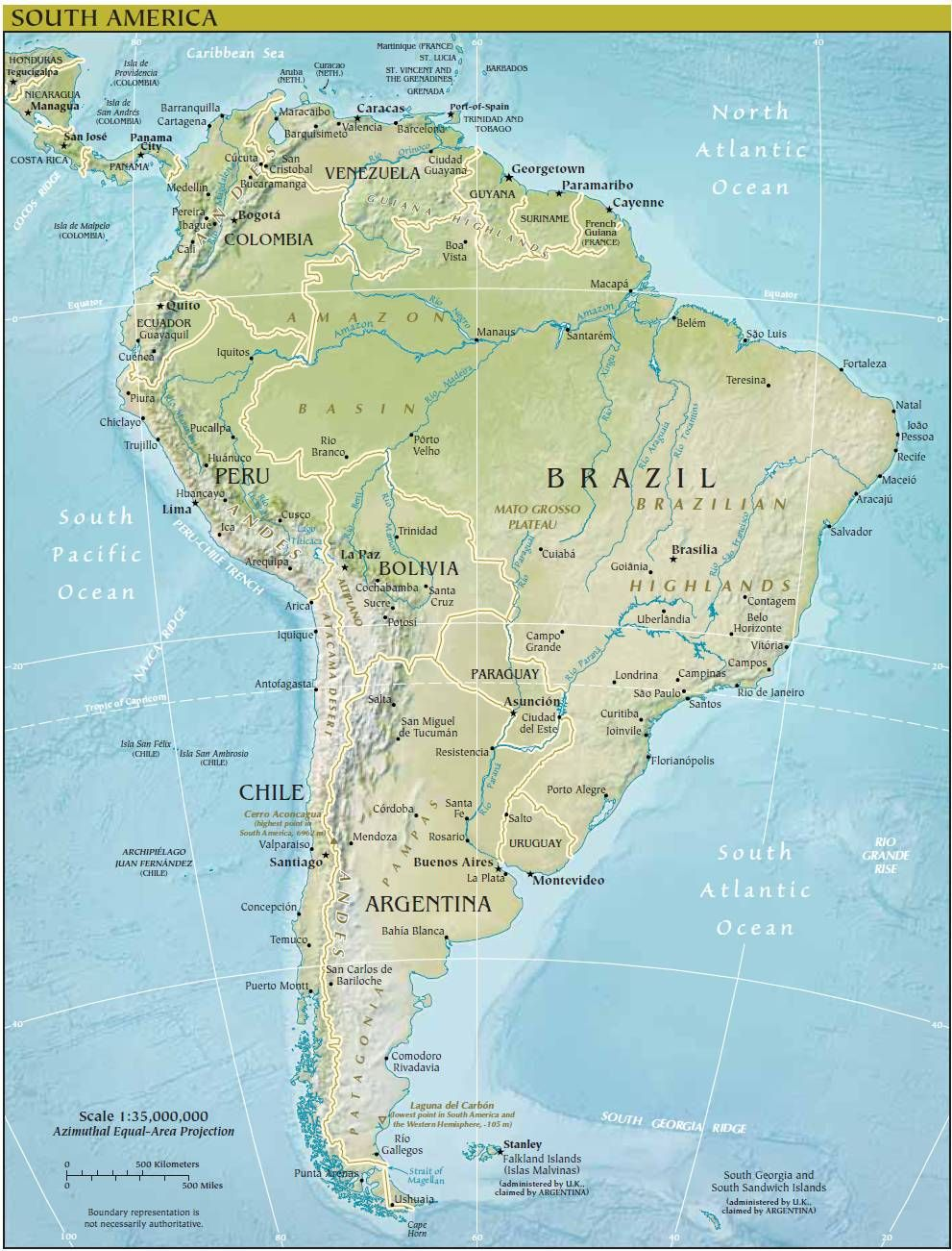 Click to see large Map of South America South America