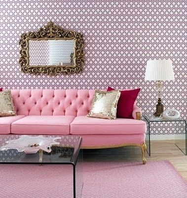pink chesterfield sofa and gold mirror | L U X E | Pinterest ...