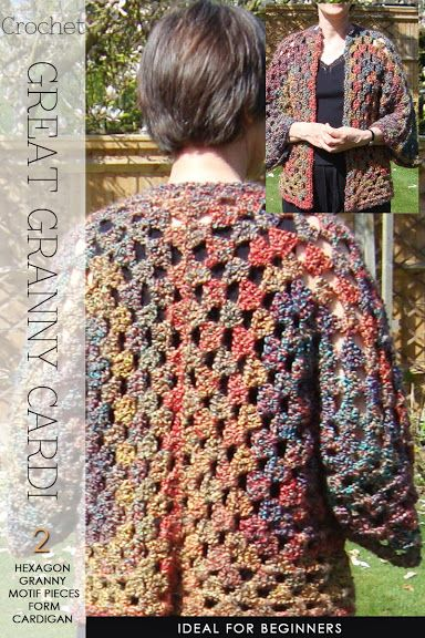 Needlecrafts Crochet Hexagon Granny Cardigan Large Image Here