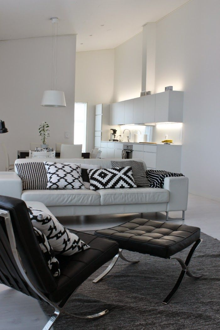 Our Livingroom, White Kitchen, Barcelona Chair, White