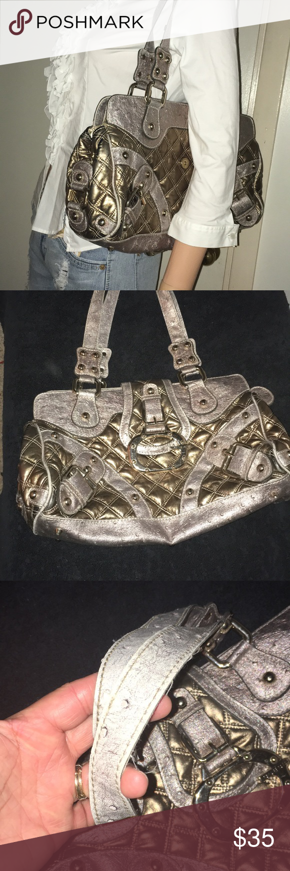 ec9b983762 Moonwalk Metallic Guess Handbag Pre owned great condition. No smells