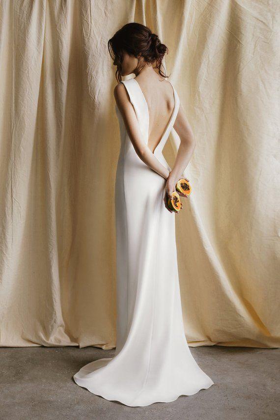 Photo of Mermaid Wedding Dress Simple Wedding Dress Minimalist Wedding Dress With Long Train Modern Wedding Dress Open Back Summer Wedding Dress