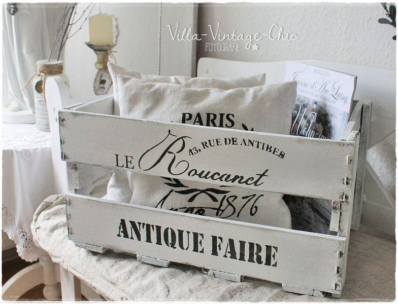 shabby weinkiste holzkiste von villa vintage chic auf wein obstkisten. Black Bedroom Furniture Sets. Home Design Ideas