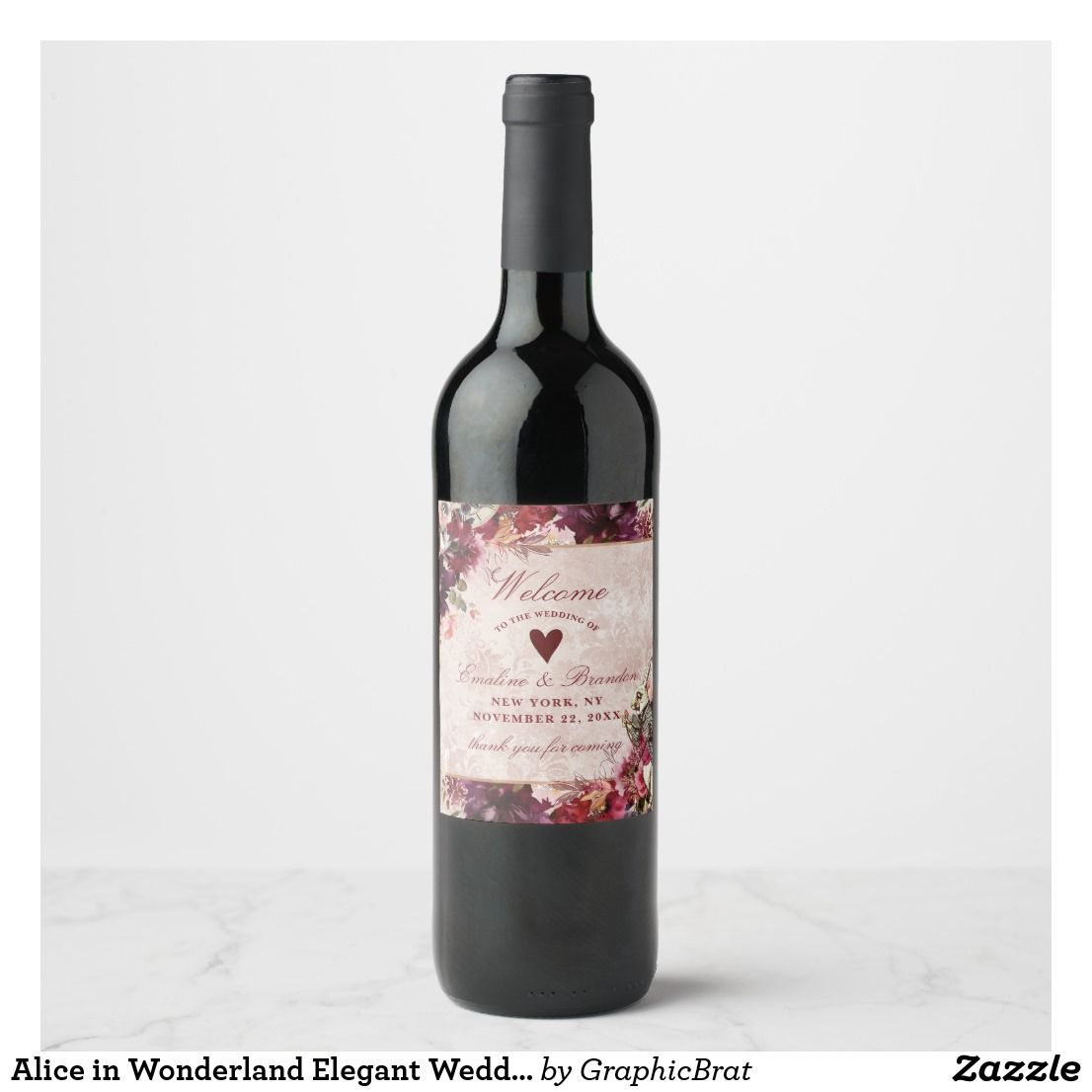Wedding decorations with wine bottles november 2018 Alice in Wonderland Elegant Wedding Welcome Wine Label  Wedding