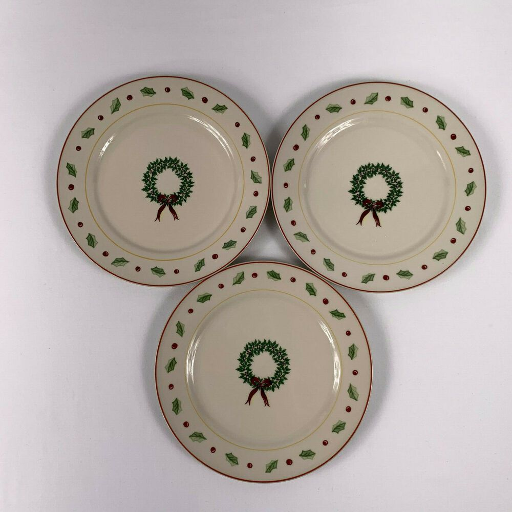 New Christmas Wreath s Merry Brite HOLIDAY HOME Salad Plate