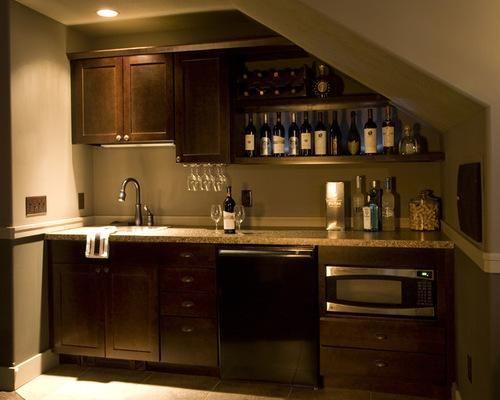 Wonderful Kitchenette Design Ideas #2 - Bar Under Basement Stairs ...