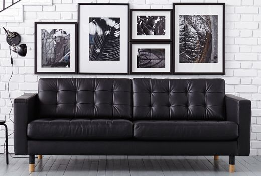 IKEA Landskrona Leather sofa | Ikea leather sofa, Black ...