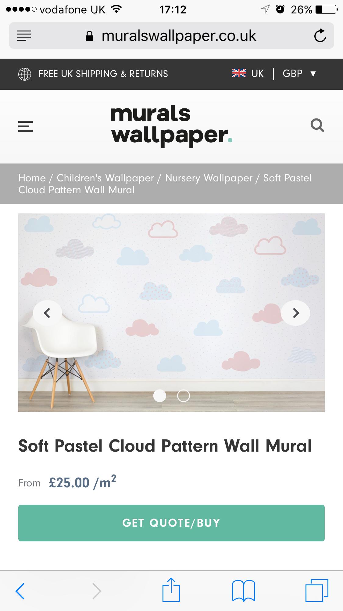 Baby room nursery wallpaper clouds blue red boy neutral