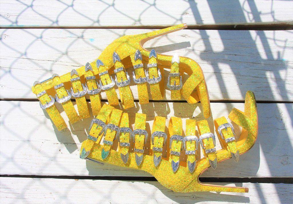 8536e8e04aa Wavy Yellow Glitter Multi Buckle Strap High Heel Shoes - 4.5