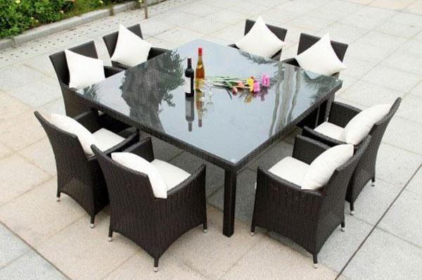 laurino 8 seater rattan table set espresso indoor outdoor
