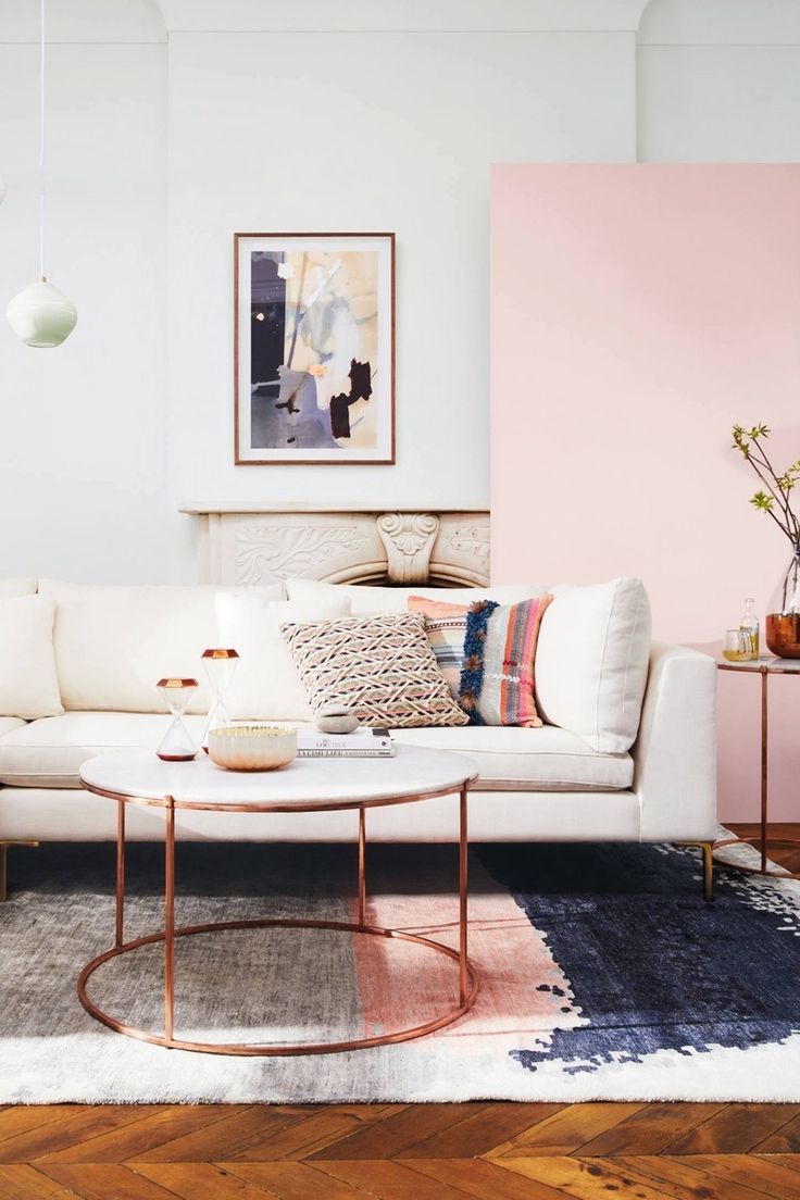 pink + rose gold accent pieces | Modern Living Room in ...