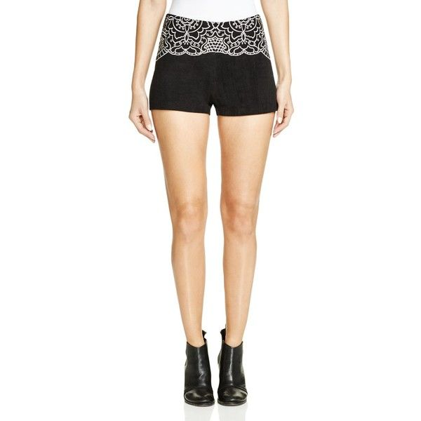 Minkpink Wild Hearts Embroidered Shorts (1.055 ARS) ❤ liked on Polyvore featuring shorts, black, embroidered shorts, minkpink and minkpink shorts