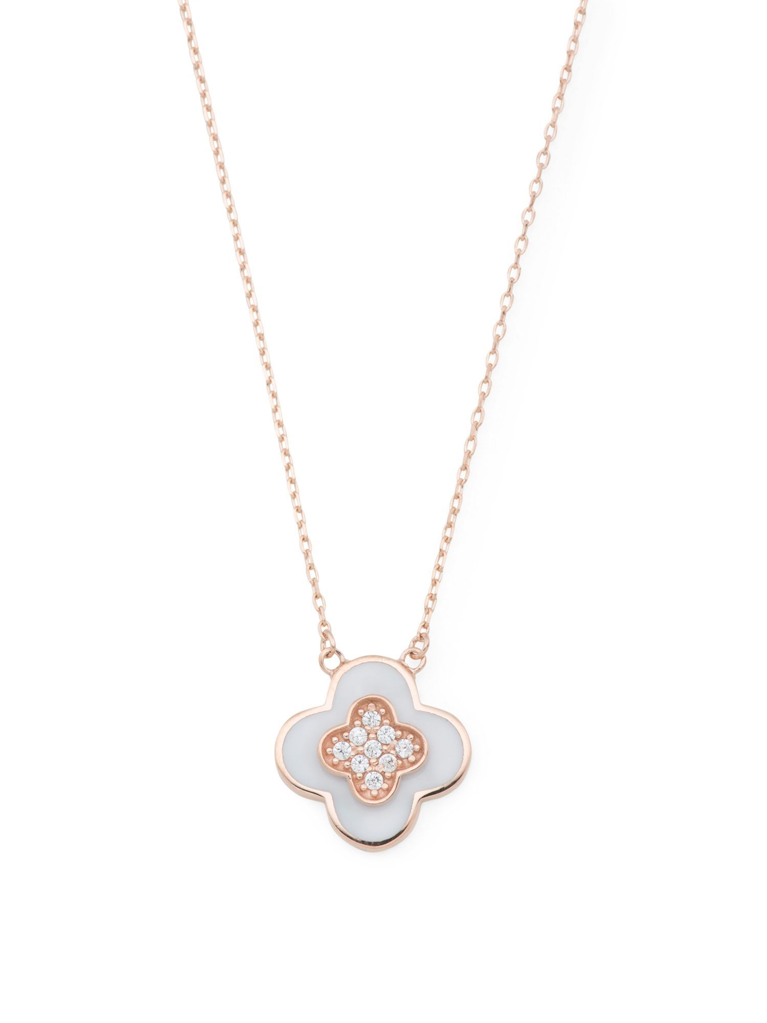 Made In USA 14k Rose Gold Cubic Zirconia And Shell Quatrefoil Necklace