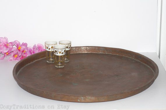 24 Moroccan Copper Tray Large Round Tea By