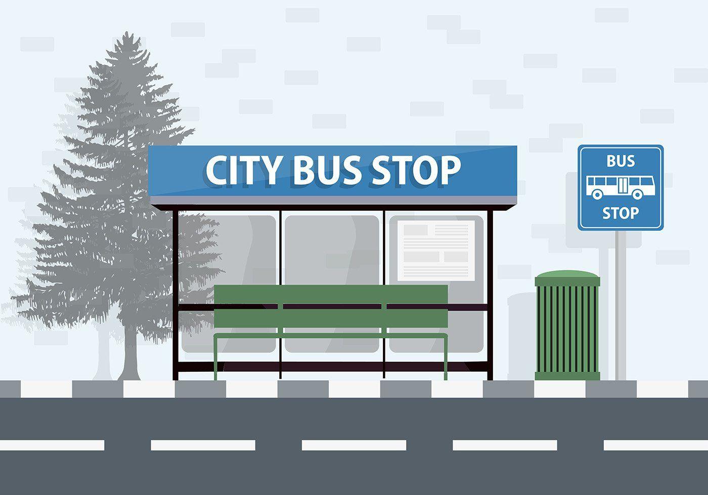 Free City Bus Stop Vector Background Bus Stop Bus Station Vector Background