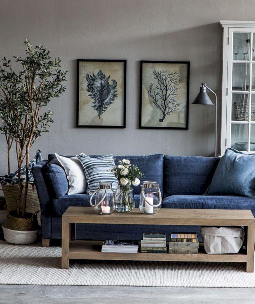 48 Adorable And Cozy Neutral Living Room Design Ideas Matchness Com Blue Furniture Living Room Blue Sofa Living Blue Sofas Living Room