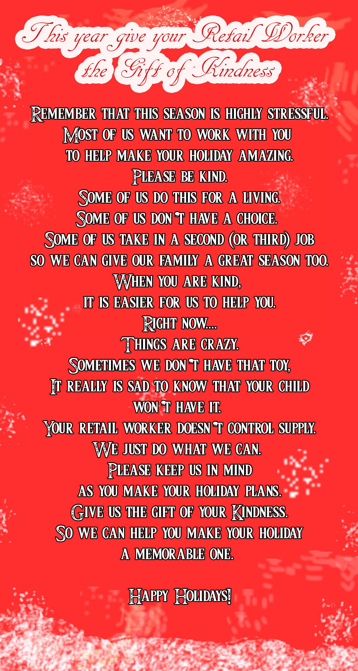 Retail Workers Need Your Kindness This Holiday Season Funny Nurse Quotes Nurse Quotes Holiday Quotes