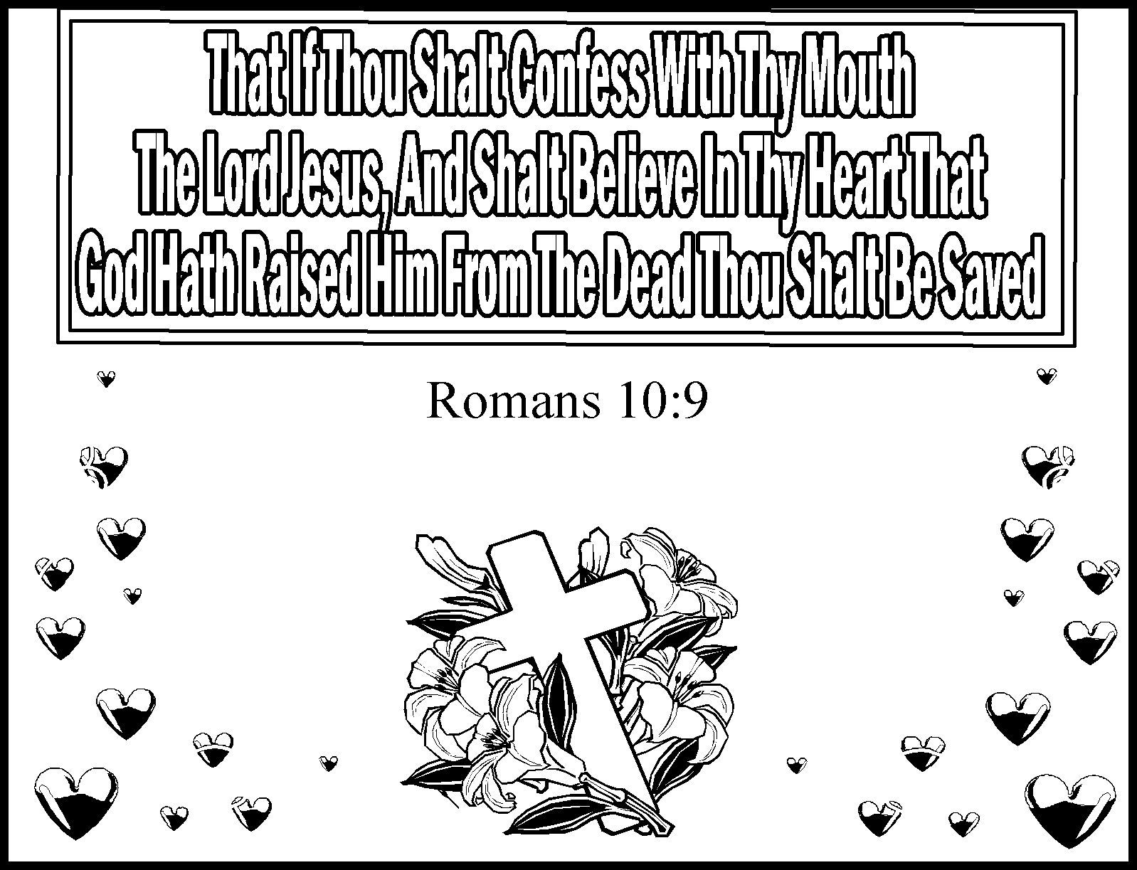 Coloring pages for john 9 - Romans 10 9 Kids Coloring Page Memory Verse Coloring