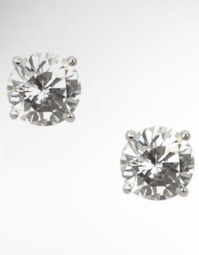 NINA JEWELRY Sarah Round Cubic Zirconia Stud Earrings at ShopStyle
