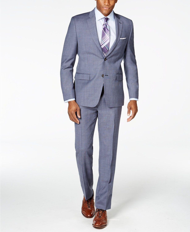 Lauren Ralph Lauren Men's Light Blue Plaid Slim-Fit Suit - Suits ...