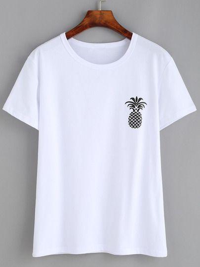 White Pineapple Print Drop Shoulder T-shirt