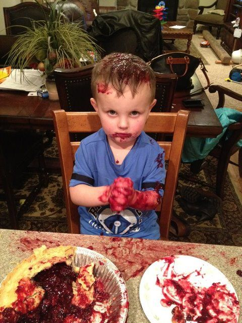 Really, Dad. Why leave him alone with a pie?