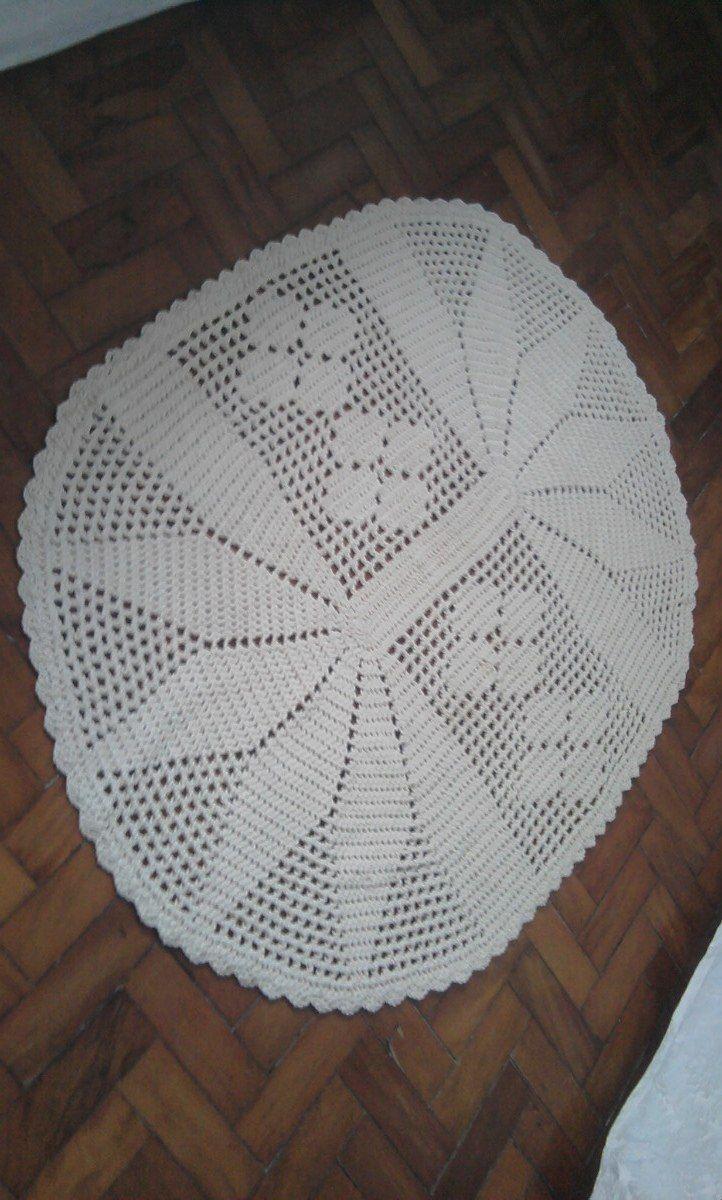 Enxoval Croch Em Barbante Tapete De Oval Grande Tapetes Pinterest -> Tapete Croche Grande