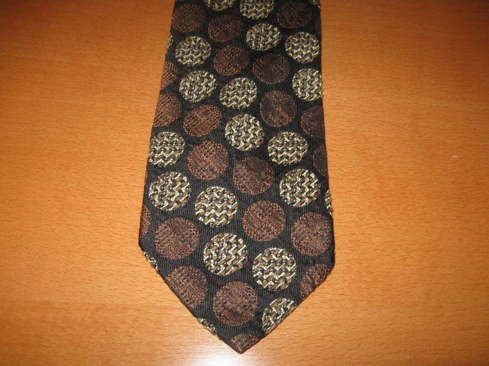 Vintage Retro 70's PROCHOWNICK Designer Black & Brown Woven 80% Silk Necktie…