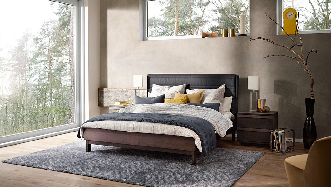 Schlafzimmer ideen ikea boxspringbett  OPPLAND bedframe from IKEA - love this modern room. I always think ...
