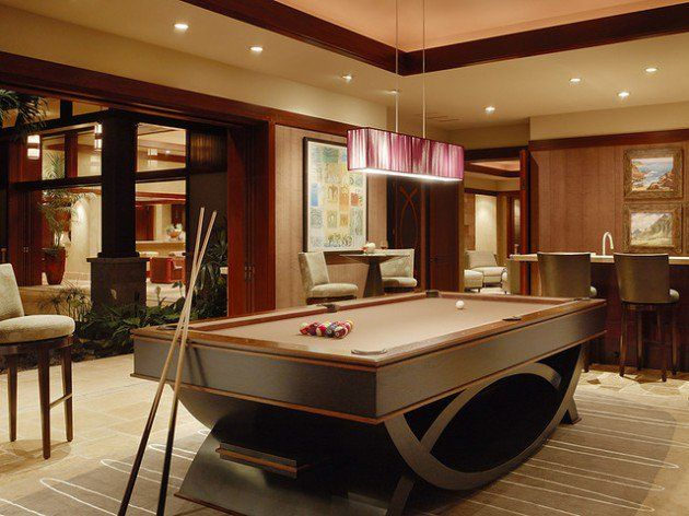 Pool Room Ideas furnitureminimalist decorating basement game room ideas with centered pool table including green top combine 30 Trendy Billiard Room Design Ideas