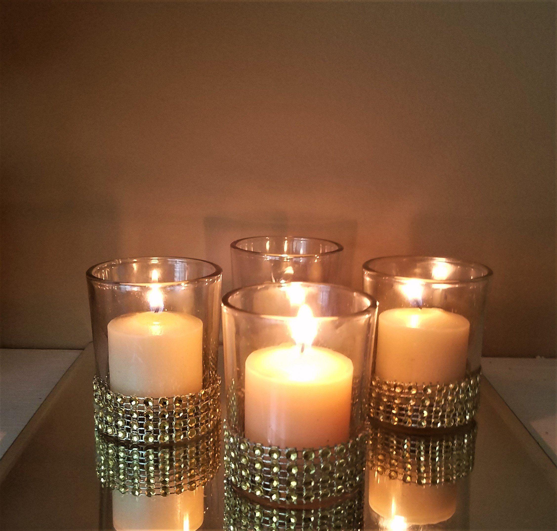 Set of 10 elegant Lace on Glass Votive Tealight Candle Holders