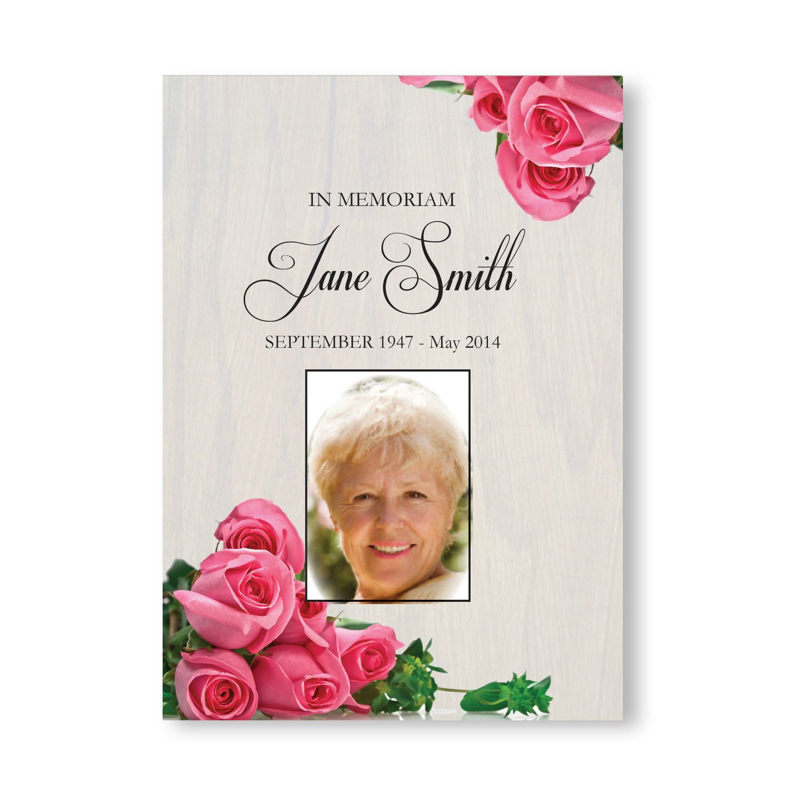 Personalised Funeral Memorial Order of Service A5 Folded Pink Rose ...