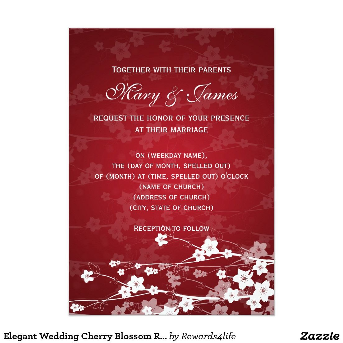 Elegant Wedding Cherry Blossom Red 5x7 Paper Invitation Card | ncl ...