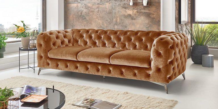 Chesterfield Sofa Modern Samt Gold 3 Sitzer Big Emma In 2020 Sofa Set Sofa Furniture