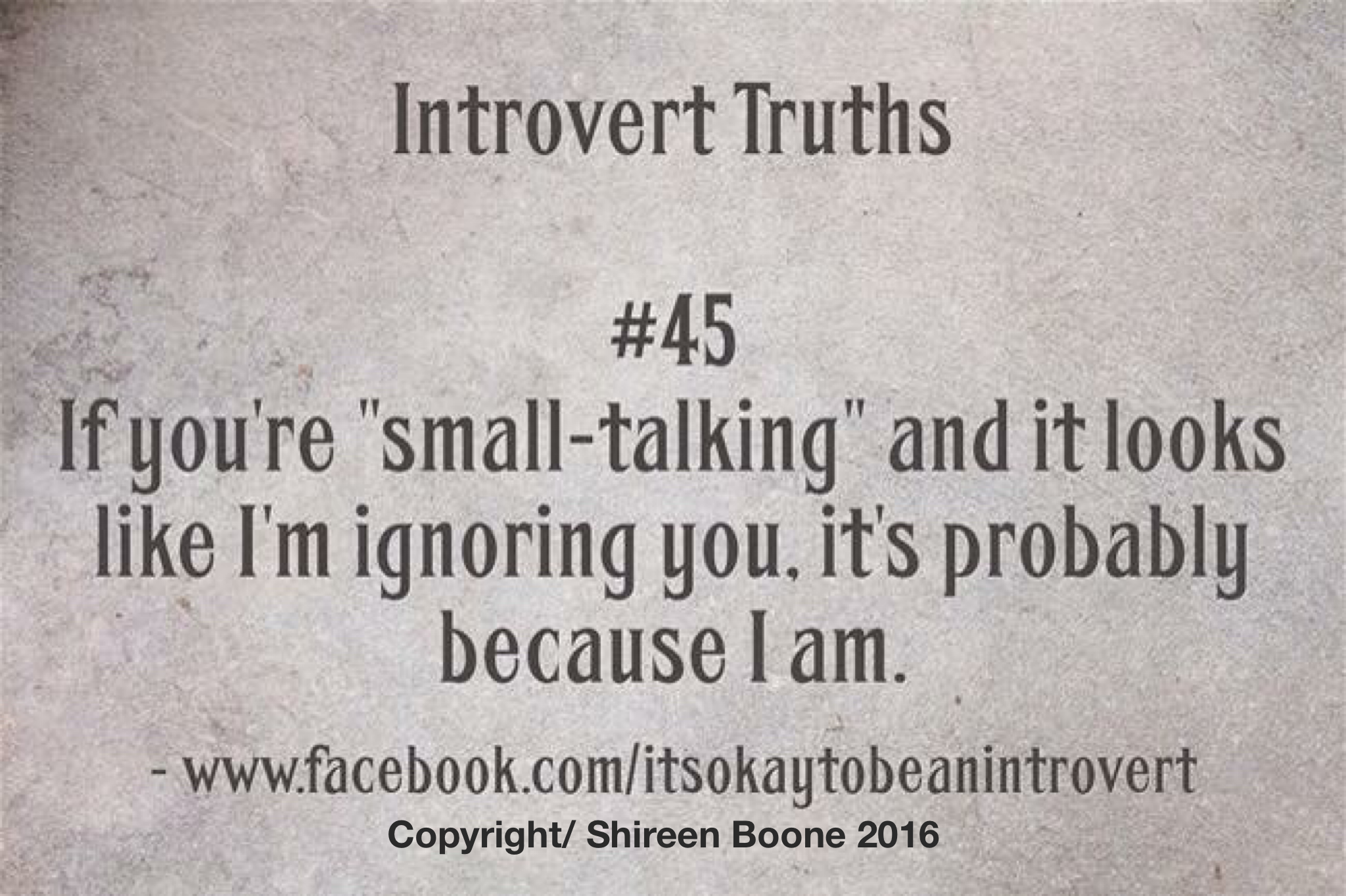 FB/It's okay to be an Introvert. Copyright/ Shireen Boone 2016