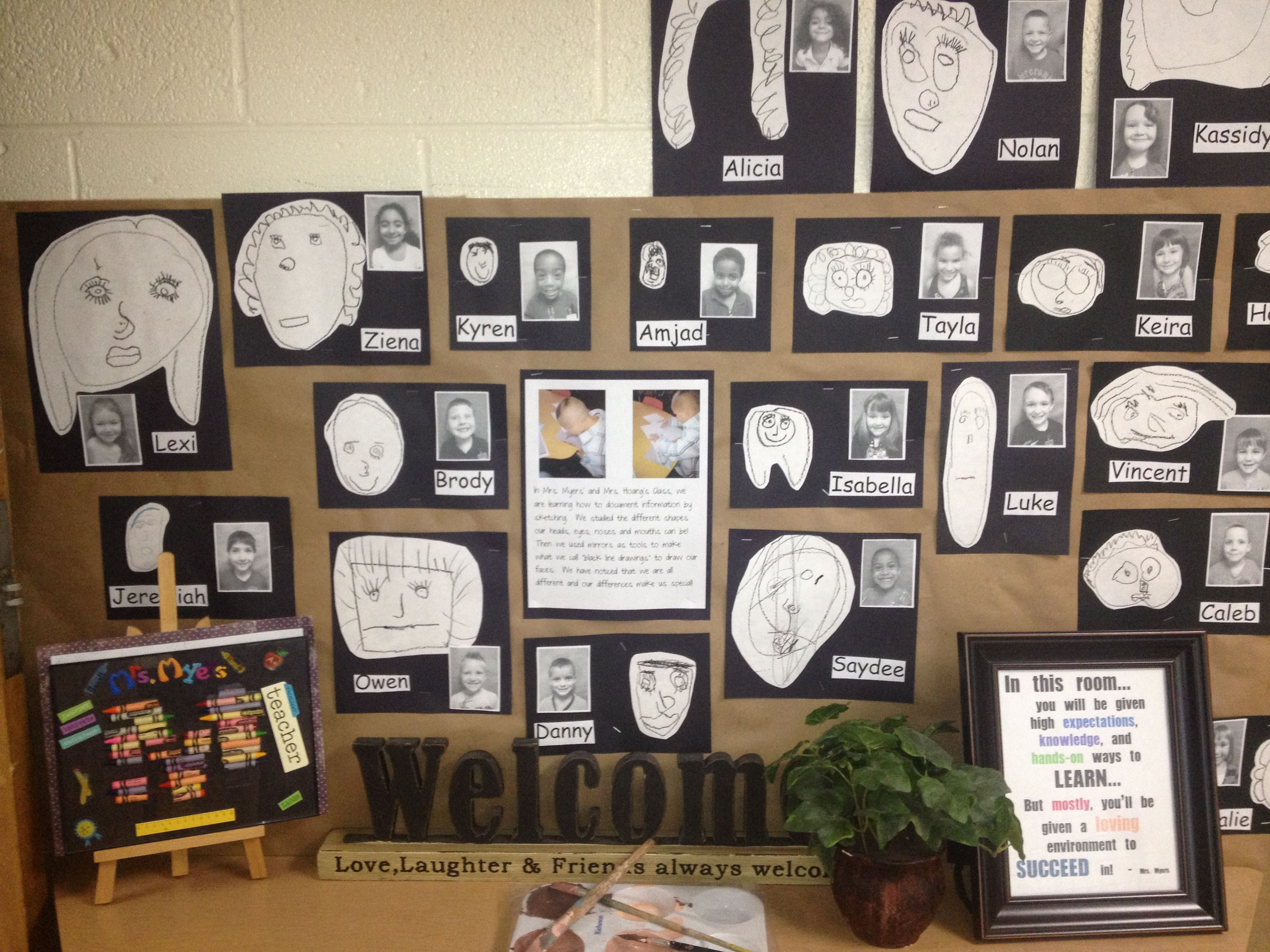 Black Line Observational Drawings From Darla Self Portraits