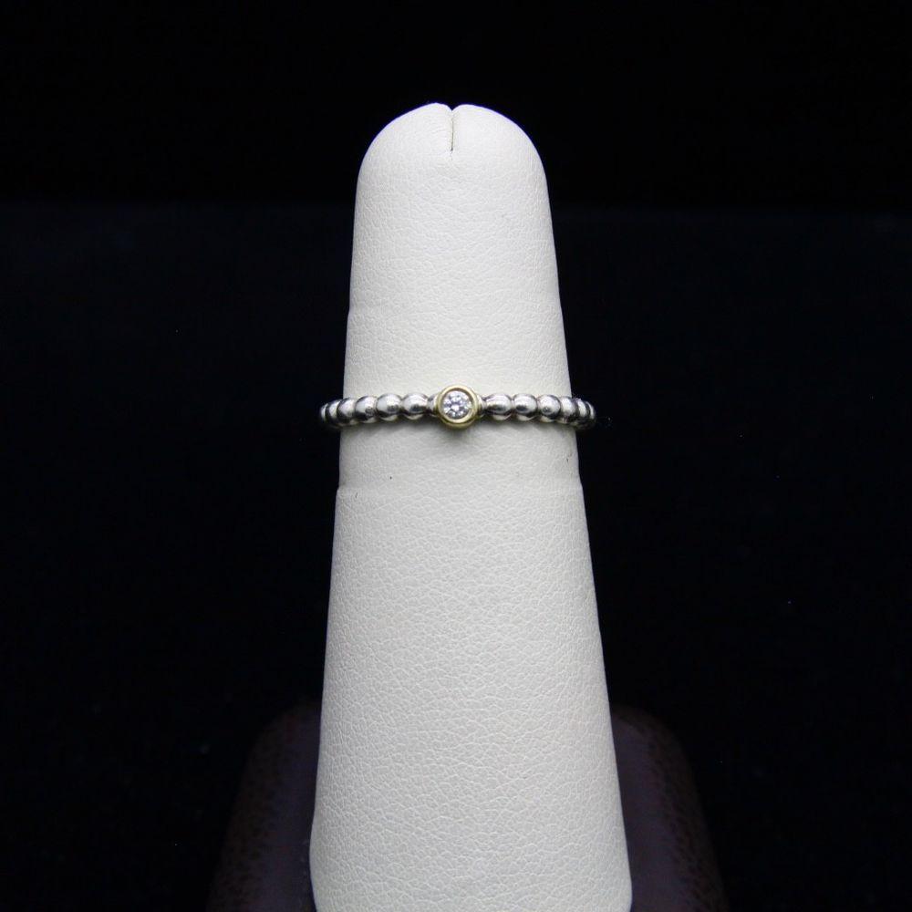 718d158e6 PANDORA Evening Star 925 Silver & 14k 0.03ct TW h/vs diamond Beaded Ring,Size  6 #PANDORA