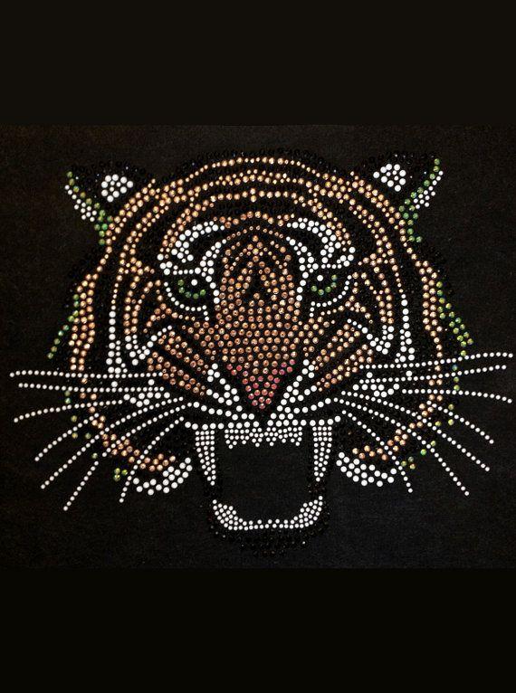 Diy Rhinestone Transfer Tiger School Spirit Rhinestone
