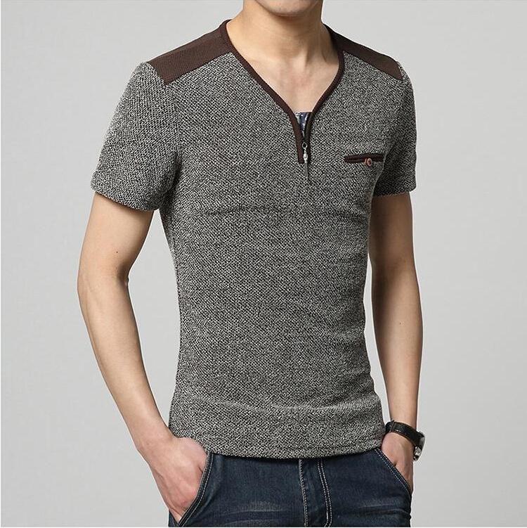 Korean T Shirt For Men Simple Summer Fashion Zipper Design V Neck