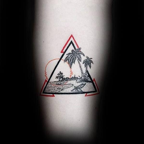 40 Small Beach Tattoos For Men Seashore Design Ideas With