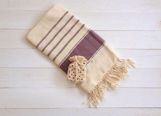Ivory Burgundy Beach Towel Bath Towel Turkish Bath Hammam By Elmaa 24 00 Beach Towel