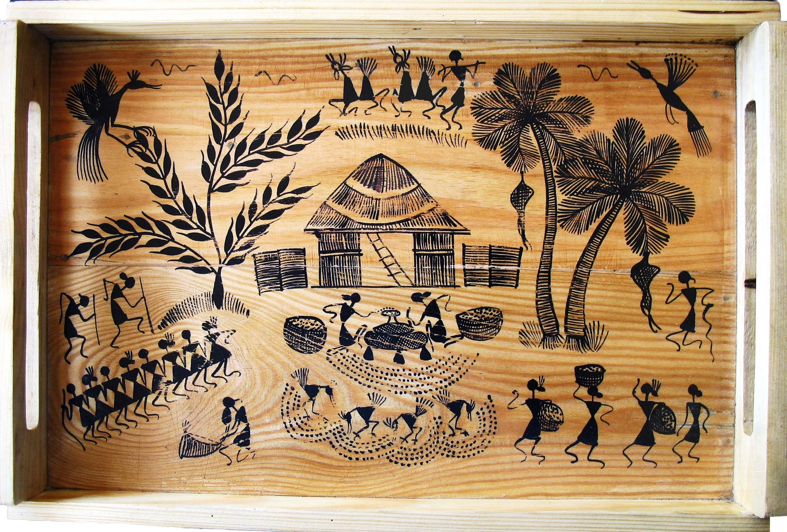 Wooden tray warli painting warli patterns pinterest for Mural art on wood
