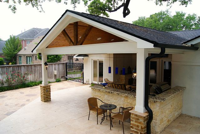 Gable Roof Patio Cover In Houston Backyard Covered Patios Covered Patio Design Patio Design