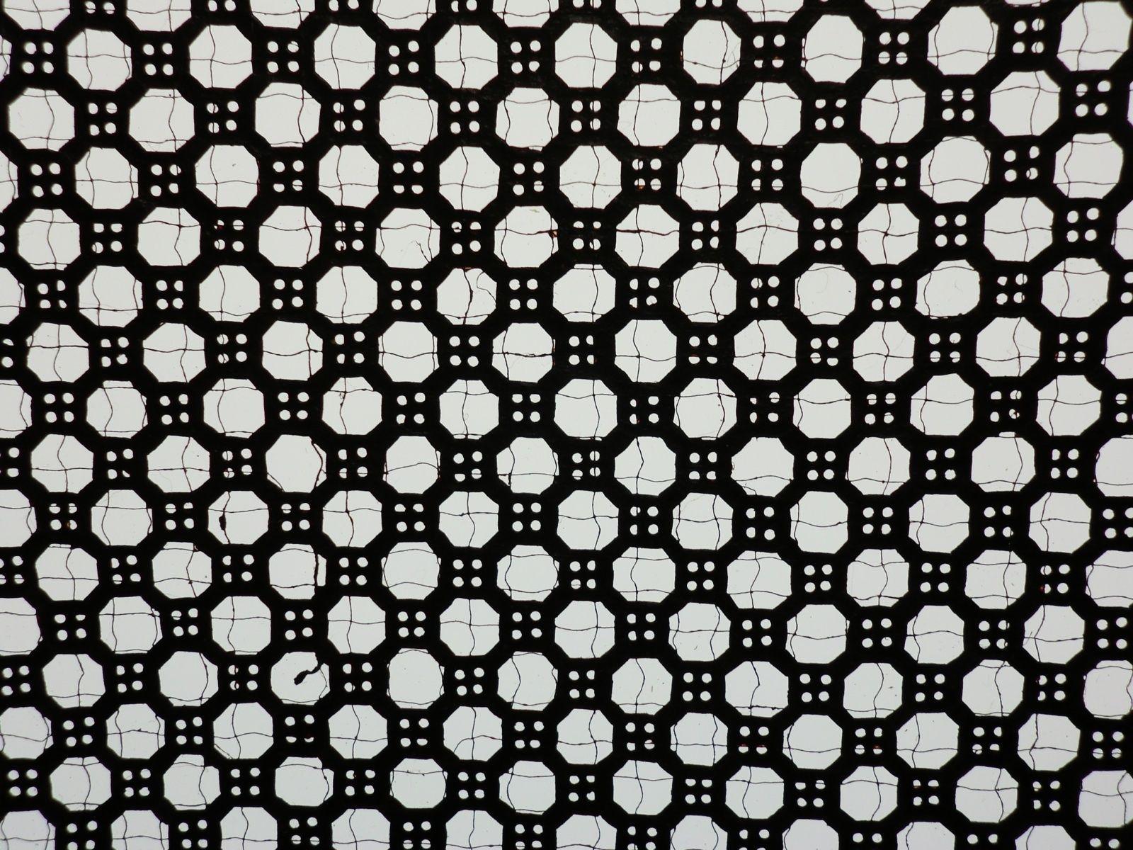Sp101 japanese ise katagami kimono stencil fish net fence hexagon ...